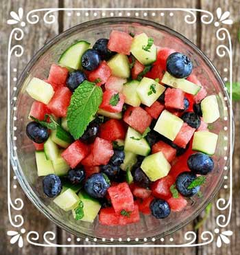 Seasonal fruit and Cucumber Salad