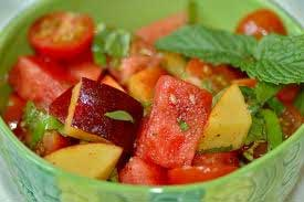 Watermelon, Peach & Heirloom Tomato Salad